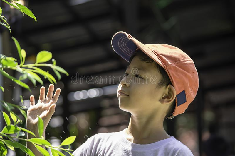 Portrait of Asian boy wearing a red cap and white  shirt is smile stock images