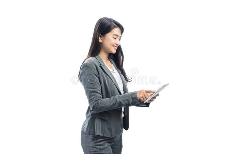 Portrait of asian business woman using digital tablet stock photography