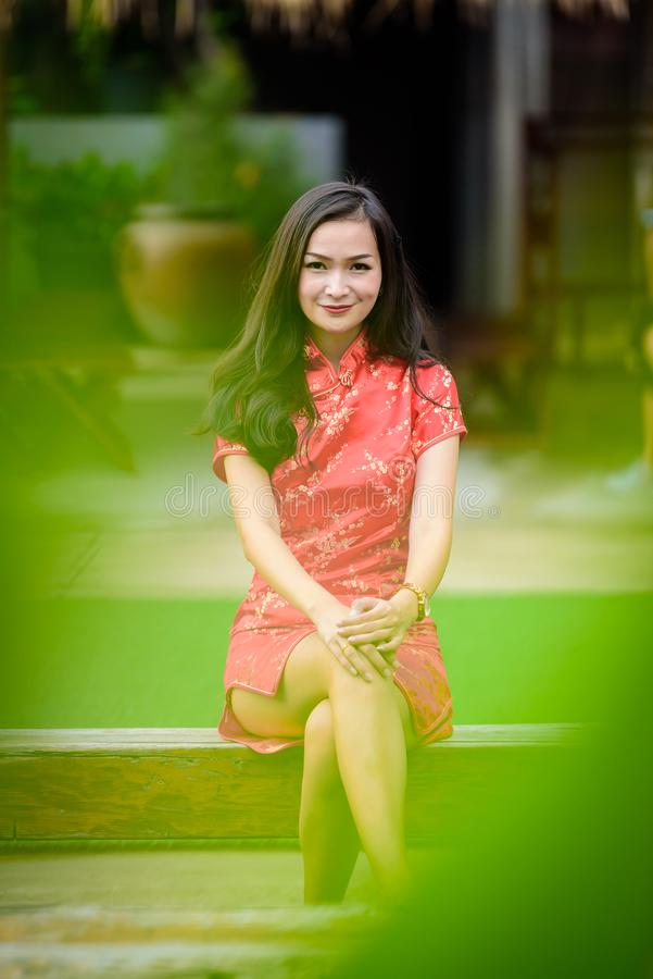Portrait of Asian Chinese and Thai girl with Happy Chinese New Y stock photo