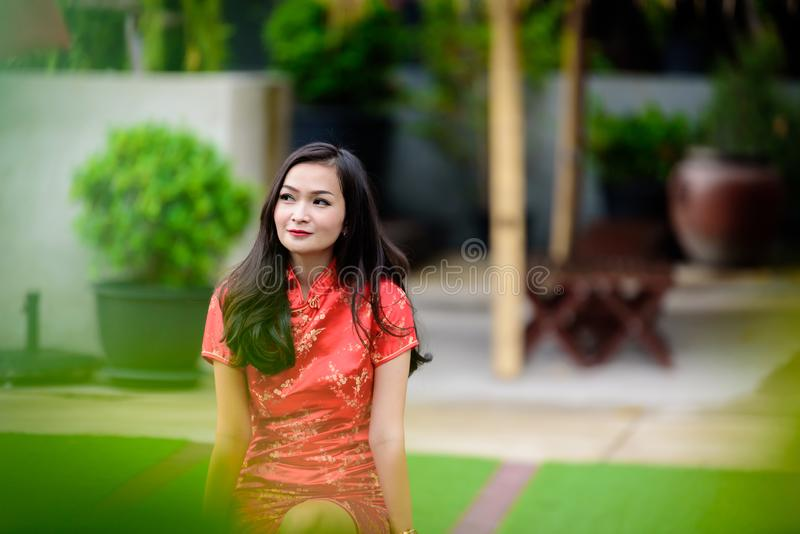 Portrait of Asian Chinese and Thai girl with Happy Chinese New Year concept stock images