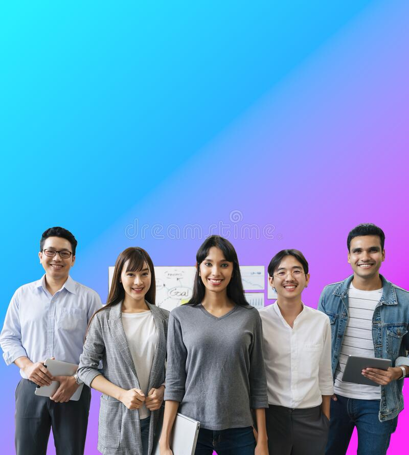 Portrait of Asian creative business team. Hipster Creative Startup Young business people in modern office.isolate with gradient royalty free stock images