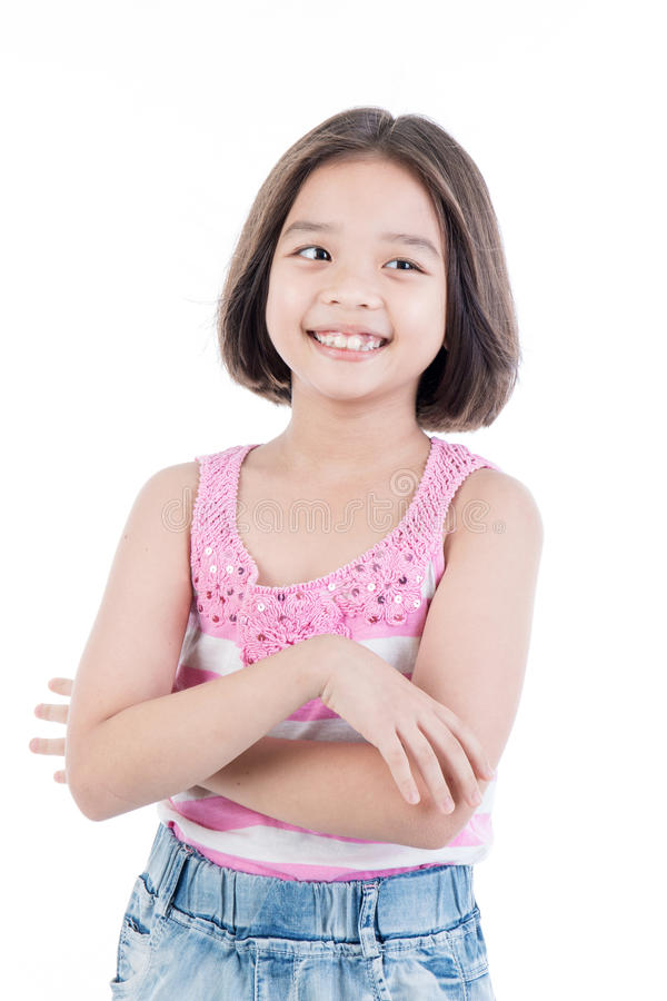 Portrait of Asian cute girl standing smile. On white background stock image