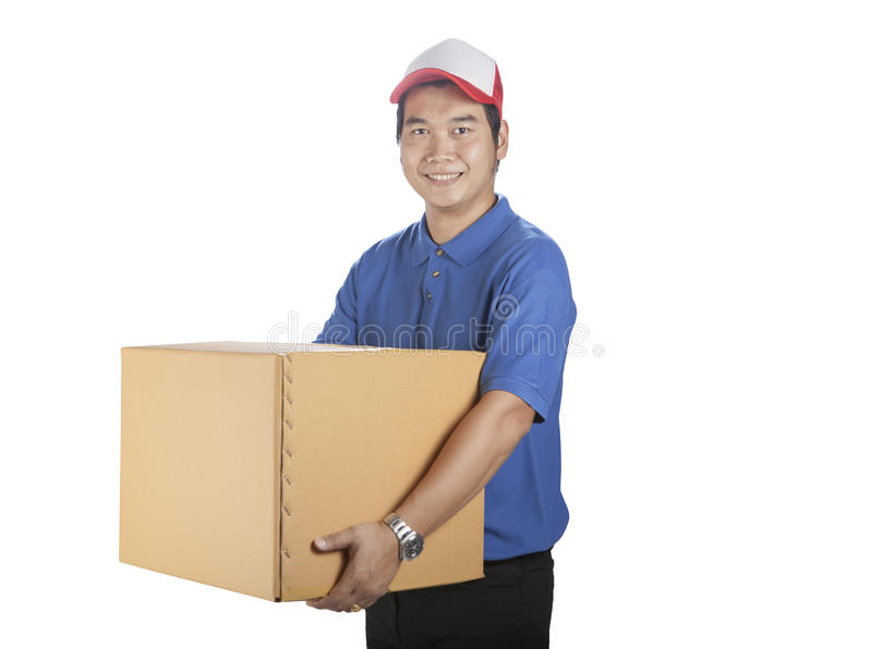 Portrait of asian delivery man holding carton box toothy smiling stock images