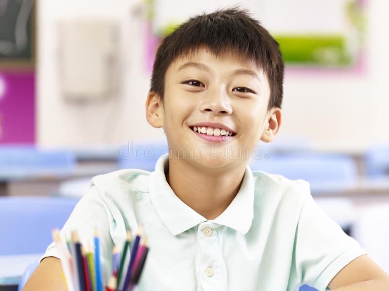 Portrait of asian elementary school student royalty free stock image