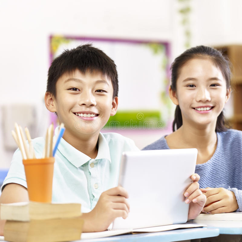 Portrait of asian elementary schoolchildren stock photos
