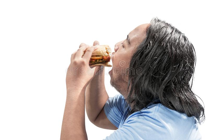 Portrait of asian fat man eating hamburger royalty free stock photos