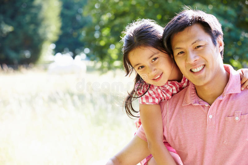 Portrait Of Asian Father And Daughter In Countrysi stock photos