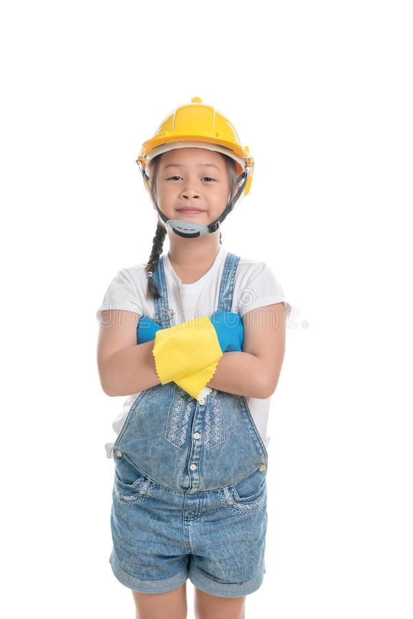Portrait of Asian girl kid cute age 7 years on white background. Portrait of Asian girl kid cute age 7 years isolated on white background wearing Dungarees jean stock image