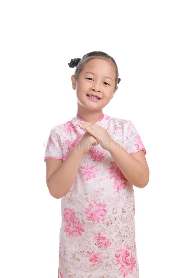 Portrait of Asian girl kid cute age 7 years on white background stock photography