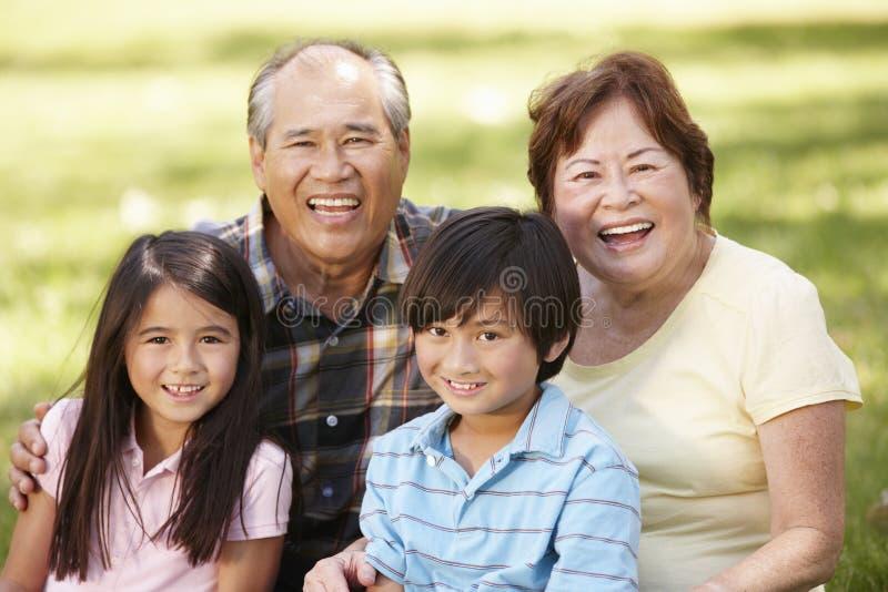 Portrait Asian grandparents and grandchildren in park stock image