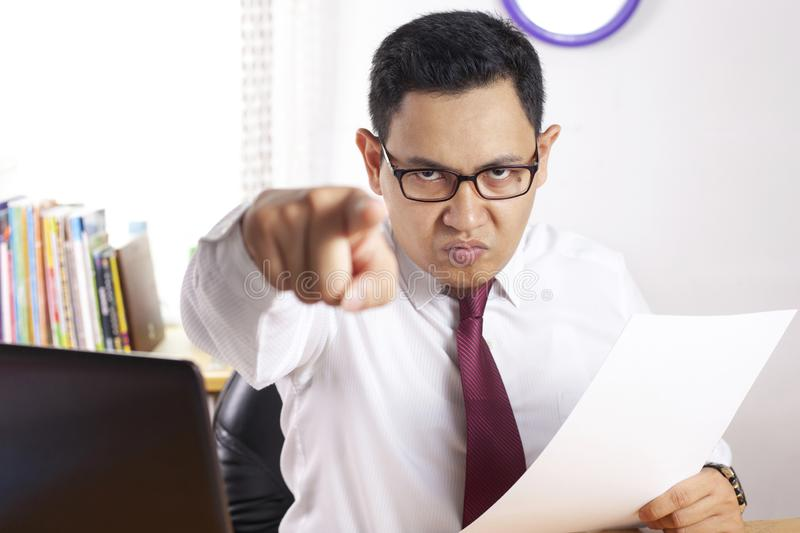 Angry Boss Giving Warn royalty free stock photos