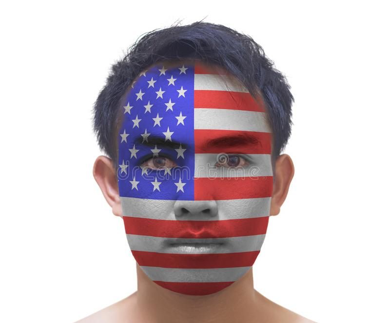 Portrait of a asian man with a painted American flag, closeup fa stock photography