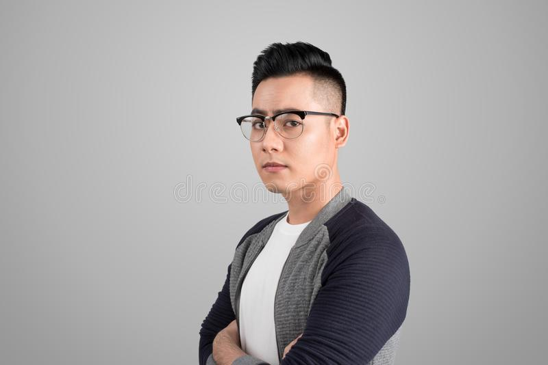 A portrait of asian man with serious emotion face royalty free stock images