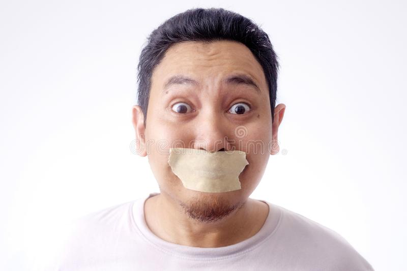 Man with Mouth Clossed, Banned for Talking royalty free stock photo