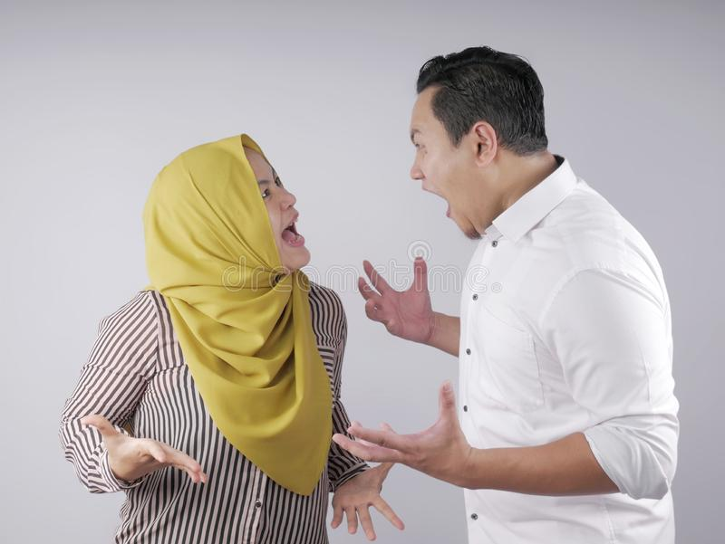 Asian Muslim Couple Having Fight stock photo