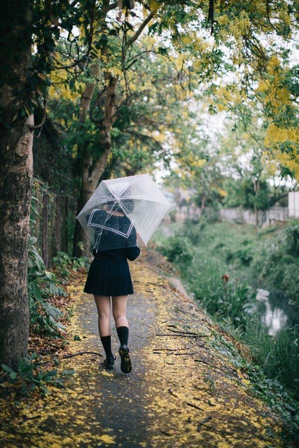 Portrait of Asian school girl walking with umbrella at  nature walkway on raining stock photo