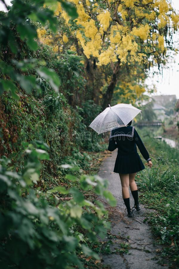 Portrait of Asian school girl walking with umbrella royalty free stock photography