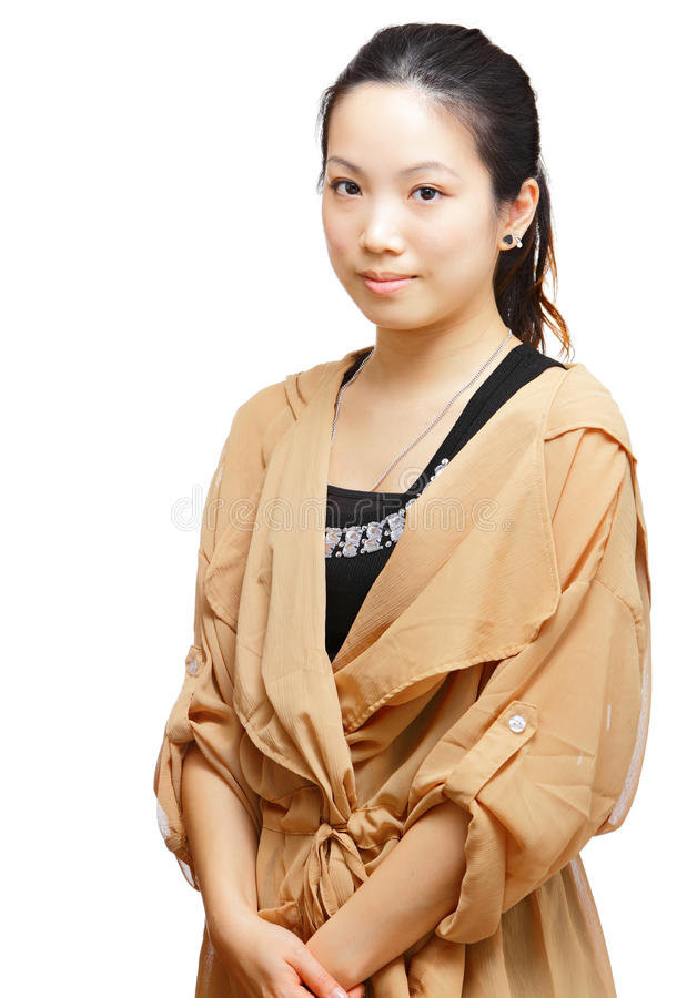 Portrait of asian woman. Isolated on white royalty free stock photography