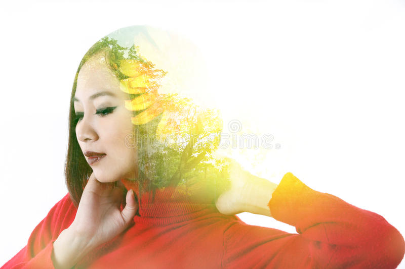 Portrait of Asian woman. Double exposure of lady and nature royalty free stock photos