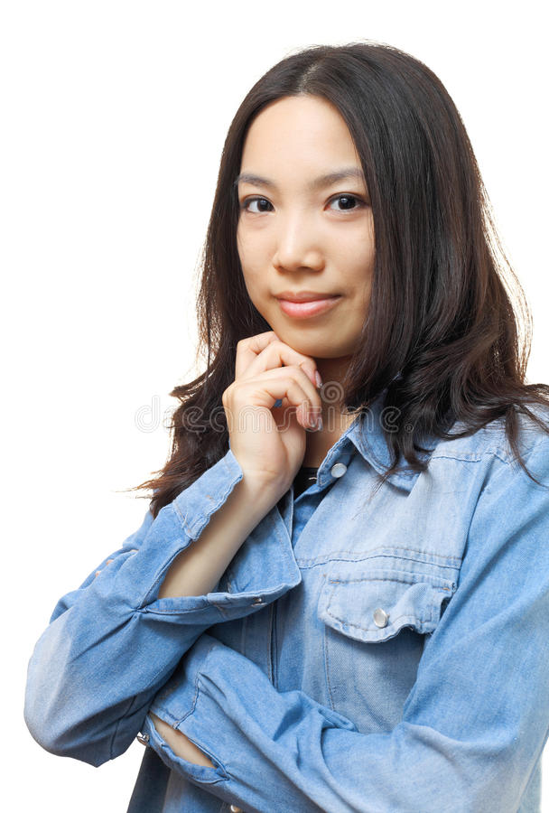Portrait asian woman. Isolated on white background stock photo