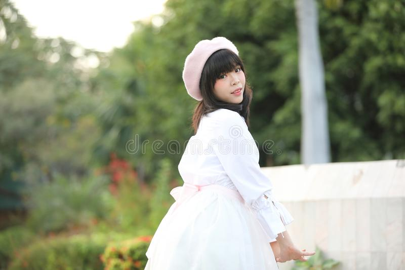Portrait asian woman lolita dress on nature park royalty free stock photography