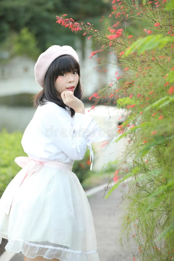 Portrait asian woman lolita dress on nature park royalty free stock photos