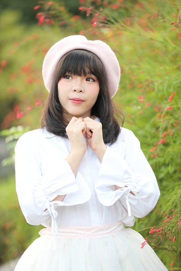 Portrait asian woman lolita dress on nature park stock images