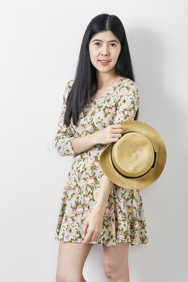 Portrait Asian woman summer with hat stock photos