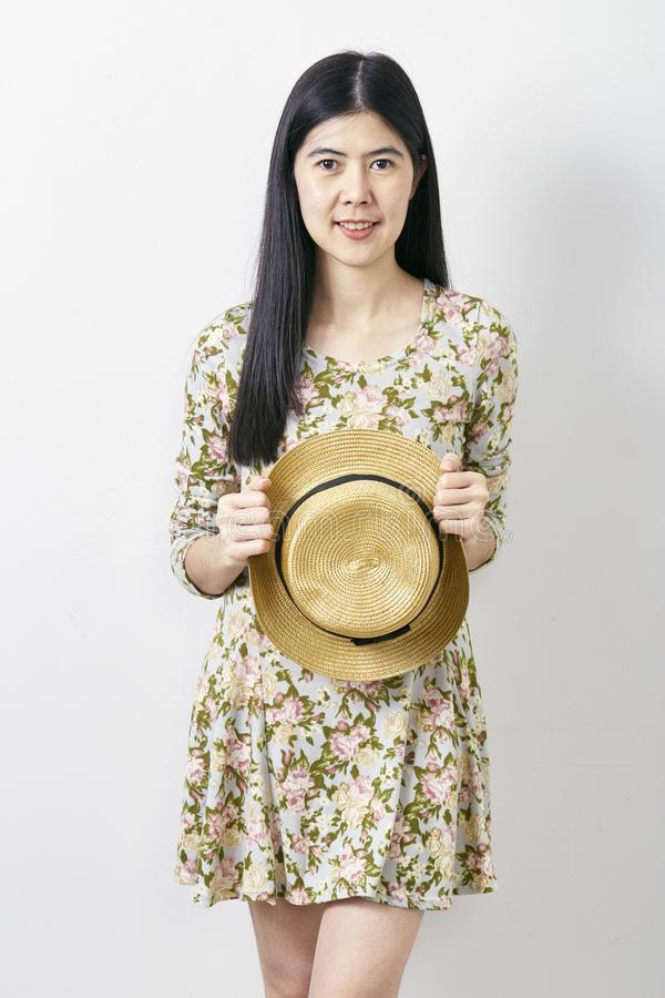 Portrait Asian woman summer with hat royalty free stock photos