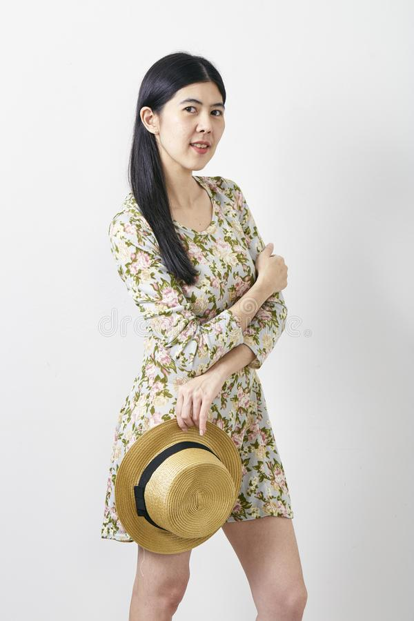 Portrait Asian woman summer with hat stock image