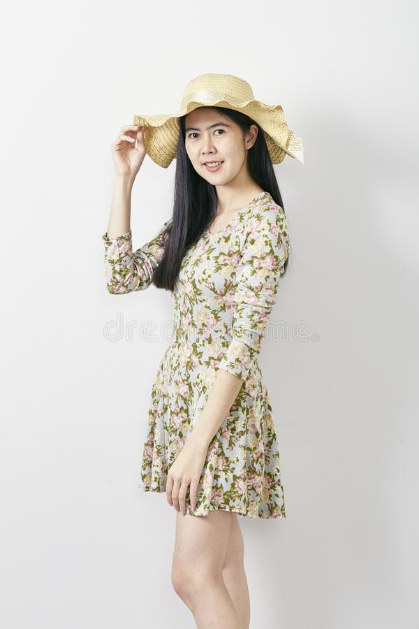 Portrait Asian woman summer with hat royalty free stock image