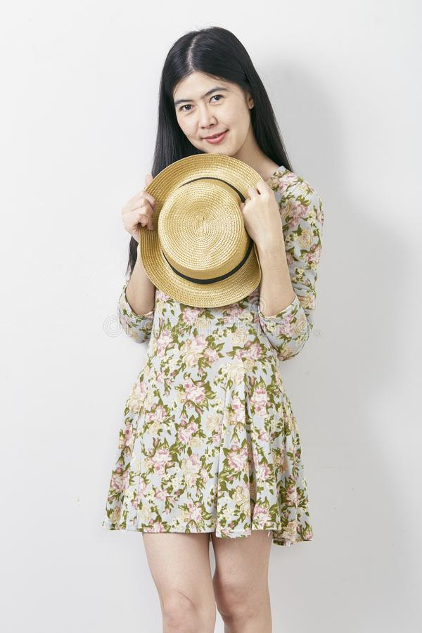 Portrait Asian woman summer with hat royalty free stock images