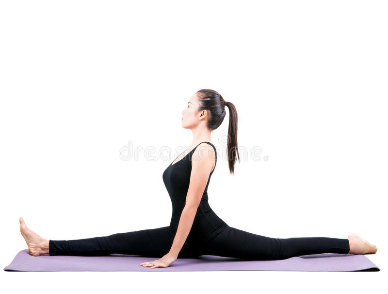 Portrait of asian woman wearing black body suit sitting in yoga. Meditation position isolated white background royalty free stock photography