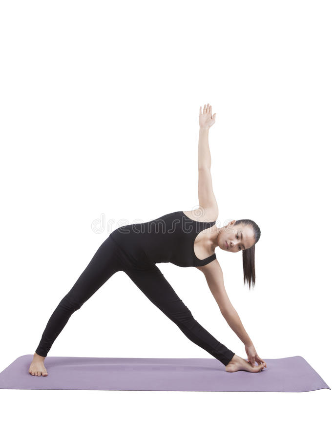 Portrait of asian woman wearing black body suit sitting in yoga. Meditation position isolated white background royalty free stock photos