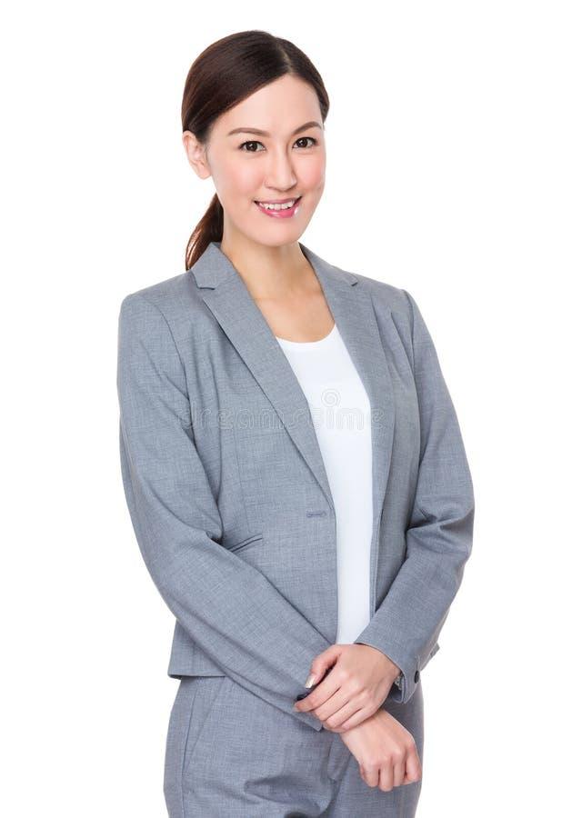 Portrait asiatique de femme d'affaires sur le fond blanc images libres de droits