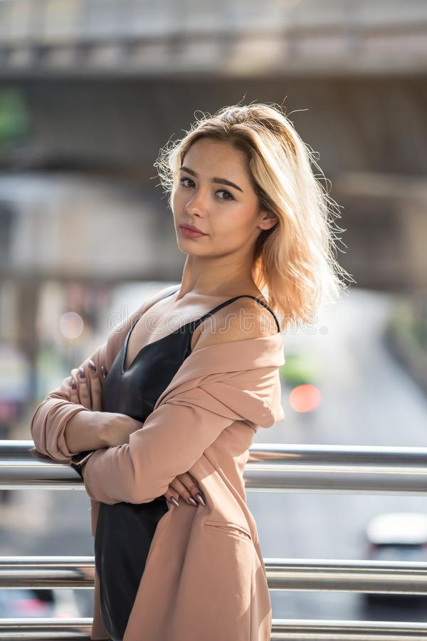 Aemrican sexy woman portrait in city stock image