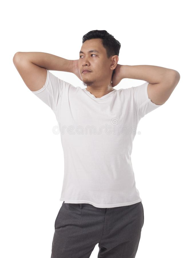 Attractive Asian Male Model Posing with White Shirt stock image