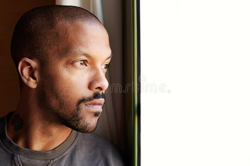 Portrait of Attractive BEARDED african black man royalty free stock photography