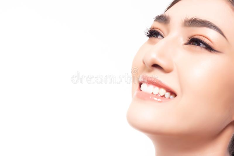 Portrait attractive beautiful young woman. Charming beautiful young lady get happiness with smiley face. Gorgeous asian woman look stock photos