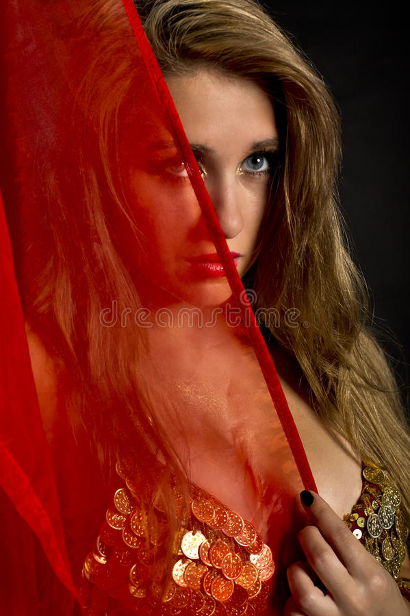 Portrait of attractive belly dancer royalty free stock image
