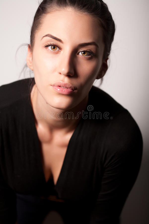 Download Portrait Of Attractive Brunette Girl Over Gray Stock Photo - Image: 11576050