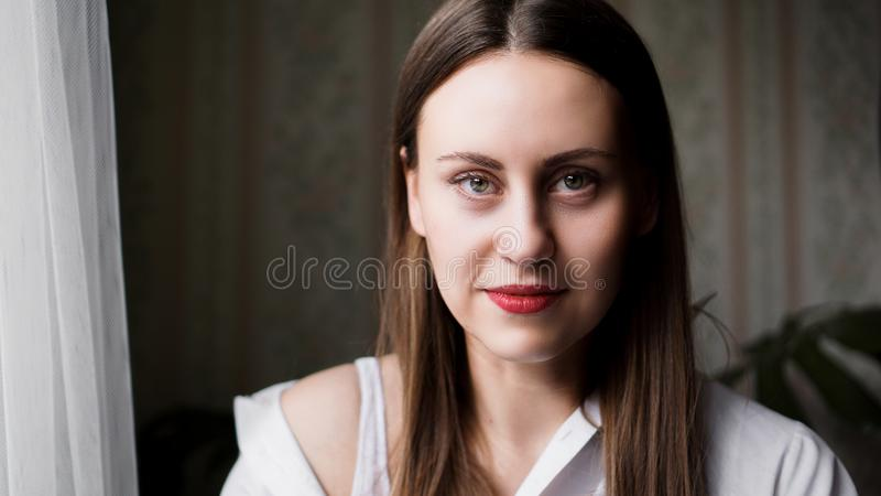 Portrait of attractive brunette woman stock photography