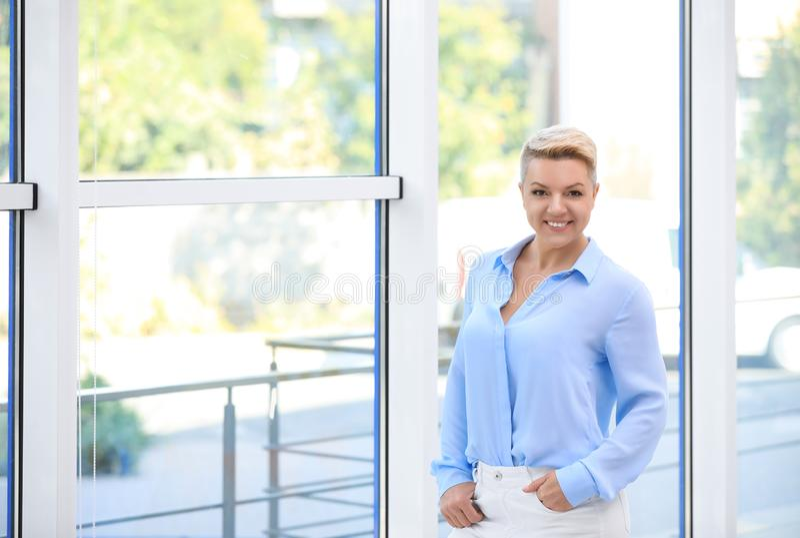Portrait of attractive business woman near window stock image