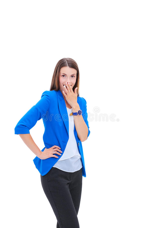 Portrait of attractive caucasian smiling woman royalty free stock photo