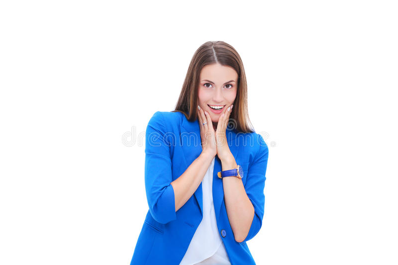 Portrait of attractive caucasian smiling woman stock photography