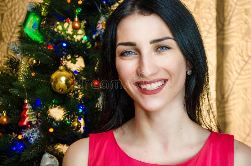 Portrait of attractive caucasian smiling woman black hair on studio shot. caucasian girl with blue eyes near christmas royalty free stock photo