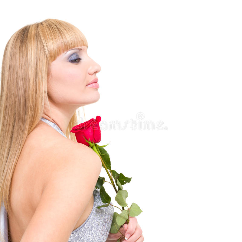 Caucasian Woman With Red Rose Stock Image