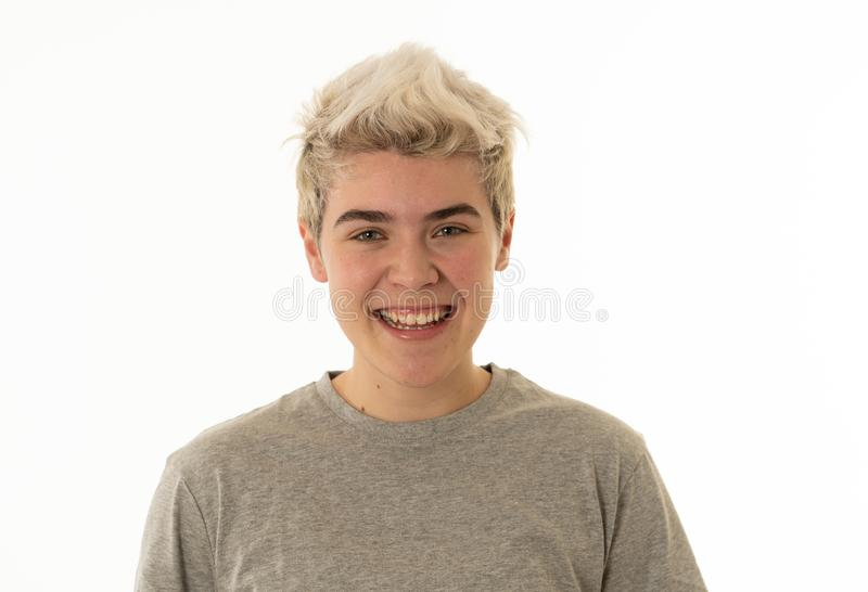 Portrait of attractive cheerful transgender young man with smiling happy face. Human expressions and emotions stock photo