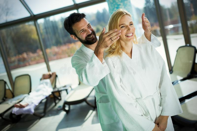 Portrait of attractive couple in spa center. Portrait of attractive couple enjoying in spa center stock photos