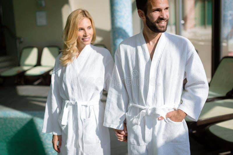 Portrait of attractive couple in spa center. Portrait of attractive couple enjoying in spa center stock image